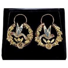 Antique Victorian 14K Gold Carved Bird Hoop Earrings