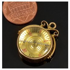 Antique Victorian 10K Rose Gold Compass Charm Fob Pendant