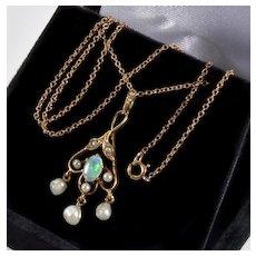 Antique Victorian 14K Gold Opal Pearl Pendant 10K Chain Necklace