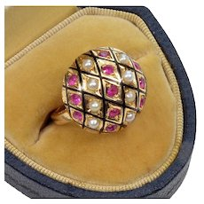 Antique Victorian Ruby Pearl Enamel 14K Rose Gold Ring Size 6
