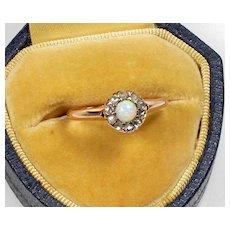 Antique Victorian 14K Opal Diamond Halo Ring Size 5 3/4