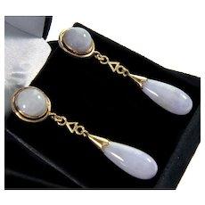 Art Deco 14K Lavender Jade Dangle Earrings