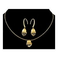 Giorgio Armani Italian 750 Gold Rock Crystal Earrings Necklace Set