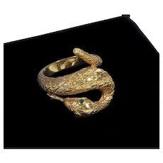 Vintage Art Deco 14K Emerald Eyes Snake Serpent Ring Size 6 1/2