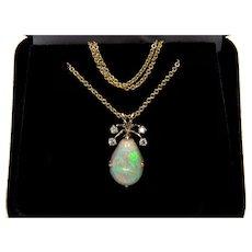 Vintage Italian Teardrop Australian Opal Diamond 14K Pendant Necklace