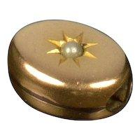 Antique Victorian 10K Gold Pearl Oval Slide Charm For Bracelet
