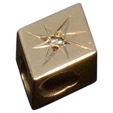 Antique Victorian 10K Gold Rose Cut Diamond Rhombus Slide Charm For Bracelet