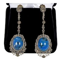 Art Deco Italian Filigree Sterling Sodalite Dangle Earrings