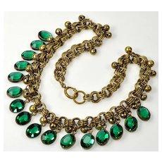 Art Deco Czech Emerald Glass Gilded Brass Necklace