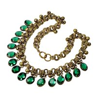 Art Deco Czech Emerald Glass Gilded Brass Necklace