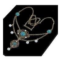 Antique Edwardian Marius Hummer Turquoise & Enamel Pearls Gilded Sterling Necklace