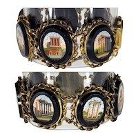 Antique Victorian 9K Gold Micro Mosaic Bracelet Grand Tour Roman Scenic C.1860's