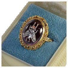 Antique Victorian Garnet 18K Diamond Fly Bug Insect Ring 6.5