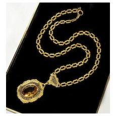Antique Victorian Czech Citrine Glass Enamel Lavalier Necklace