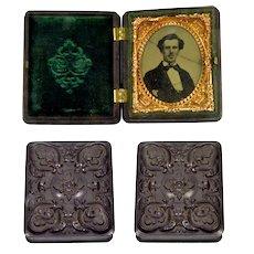 Pre Civil War Ambrotype 1/9 Plate Gutta Percha Union Case