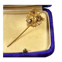 Antique Victorian 14K Gold Diamond Garnet Tiger Lion Stick Pin Tie Pin