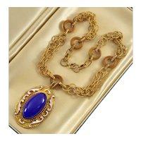 Art Deco Czech Max Neiger Egyptian Revival Enamel Glass Brass Necklace