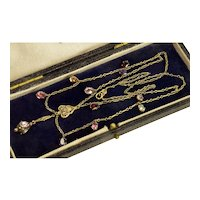 Georgian Gold Foil back Paste Drop Chain Necklace