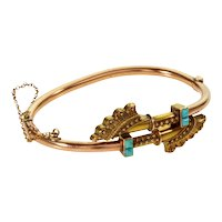 Antique Victorian Etruscan Revival 14K Gold Turquoise Hinged Bracelet