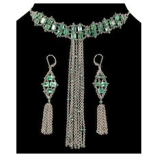 Anthony Nak Emerald Necklace Earrings Set Sterling