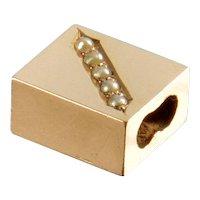 Antique Victorian 14K Gold Pearl Slide Charm For Bracelet
