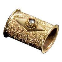Antique Victorian 10K Rose Gold Pearl Slide Charm For Bracelet