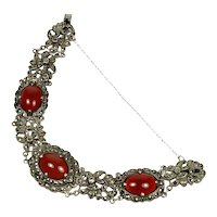 Antique Art Deco Carnelian Marcasite Sterling Link Bracelet
