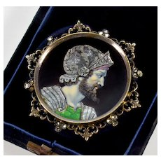 Antique Victorian French Limoges Enamel Zeus Cameo Paste Brass Brooch