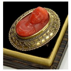 Antique Victorian 18K Red Coral Cameo Etruscan Revival Brooch Pin