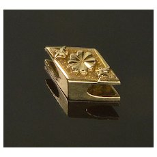 Antique Georgian 14K Rhombus Slide Charm For Bracelet 1649
