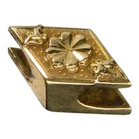 Antique Georgian 14K Rhombus Slide Charm For Bracelet 1649