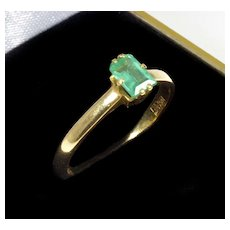 Vintage 18K Yellow Gold Russian Emerald Ring
