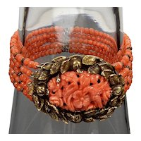 Antique Chinese Carved Salmon Coral Bird Over Flowers Brass Bracelet