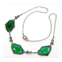 Art Deco Sterling Chrysoprase Marcasite Necklace