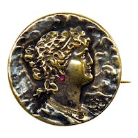 Victorian Cameo Goddess Chased Relief Brass Brooch Pin Ruby Paste Habille