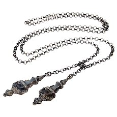 Antique Victorian Sterling Scandinavian Danish Lariat Necklace