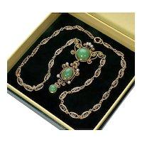 Antique Edwardian 14K Jadeite Jade Pearl Lavalier Necklace