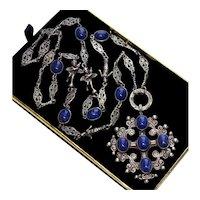 Art Deco Italian Peruzzi Silver Cross Bottony Necklace Angels & Andrea Della Robbia Swadelled Infants