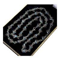 Art Deco Italian Fish Bone Enamel Silver Necklace