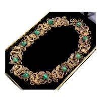 Art Nouveau Czech Neiger Gargoyle Dragon Jade Peking Glass Brass Necklace Choker
