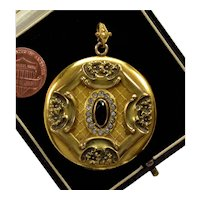 Antique Victorian Large Locket Pendant Yellow Gold Filled 2-picture