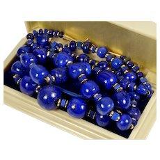 "Vtg 60's 14K Large High Quality Lapis Lazuli Bead Necklace 29"""