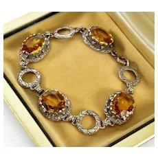Antique Edwardian Belle Epoque Citrine Silver Bracelet