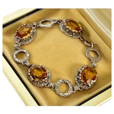 Antique Edwardian Belle Epoque Citrine Silver Bracelet