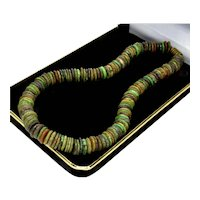 Vtg Natural Turquoise Rondelle Bead Necklace