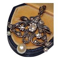 Antique Victorian Belle Epoque French 21 Rose Cut Diamonds Pearl Pendant Brooch