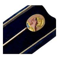 Art Nouveau 18K Gold French Enamel Athena Goddess Stick Pin