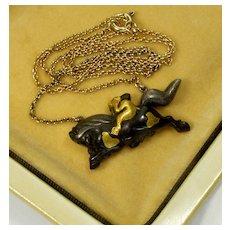 Antique Japanese Meiji Shakudo Mixed Metal Monkey Riding On Horse Pendant Necklace