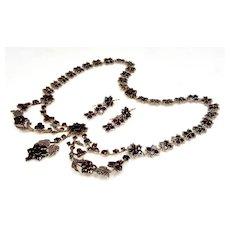 Antique Victorian 10K Gold Bohemian Garnet Necklace Earrings Set