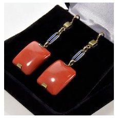 Antique Art Deco Momo Coral Enamel 14K Gold Dangle Earrings